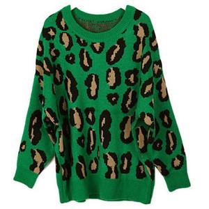 Green Loose Leopard Batwing Sweater