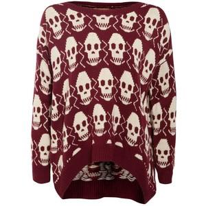 Misumi Dark Red Skull Print Sweater